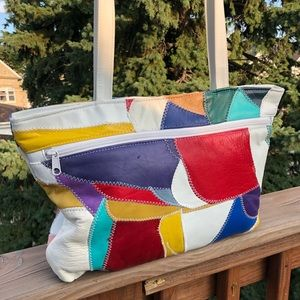 Patchwork Leather 90s Bag White Stitches Colorful